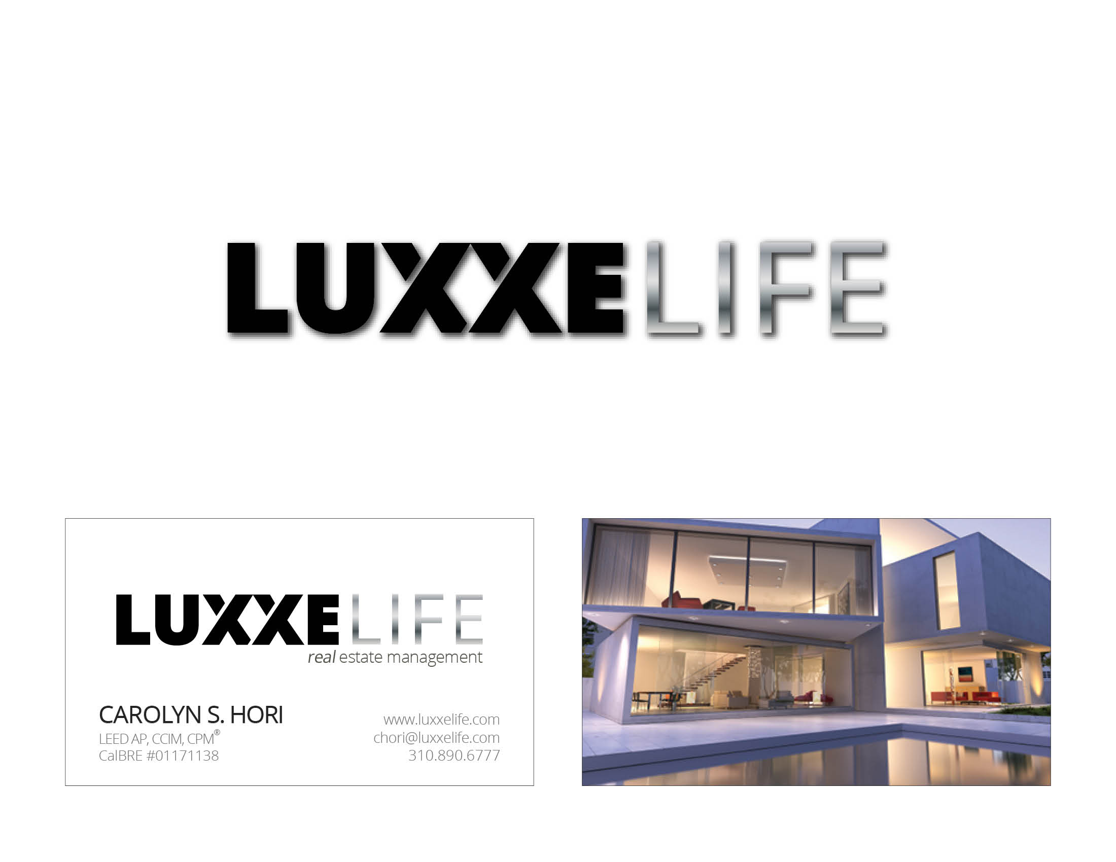 Luxxe Life logo & business card